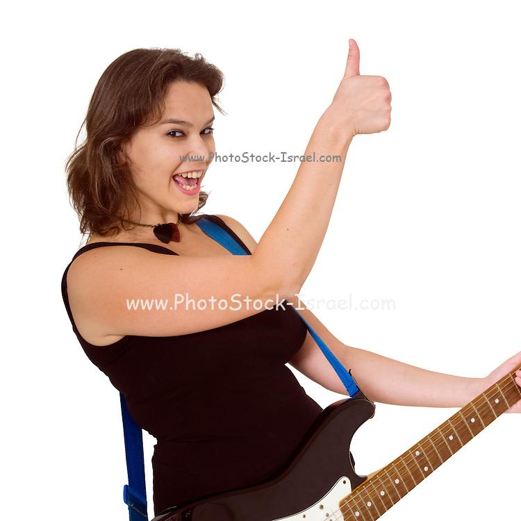Female guitarist Thumbs Up gesture