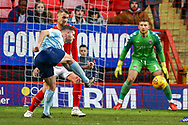Accrington Stanley forward Billy Kee (29) shoots towards the goal during the EFL Sky Bet League 1 match between Charlton Athletic and Accrington Stanley at The Valley, London, England on 19 January 2019.