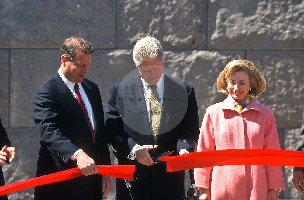President Bill Clinton, First Lady Hillary and VP Al Gore at the dedication ceremony of the FDR Memorial May 2, 1997 in Washington, DC. The memorial to the US 32nd president spreads across four granite-walled outdoor rooms along a 7.5 acre-swath of West Potomac Park.