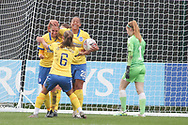 Brighton and Hove Albion Women celebrate after equalising during the FA Women's Super League match between Everton Women and Brighton and Hove Albion Women at the Select Security Stadium, Halton, United Kingdom on 18 October 2020.