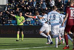 Anfører Jonas Henriksen (FC Helsingør) jubler efter scoringen til 1-0 under kampen i 1. Division mellem FC Helsingør og Skive IK den 18. oktober 2020 på Helsingør Stadion (Foto: Claus Birch).