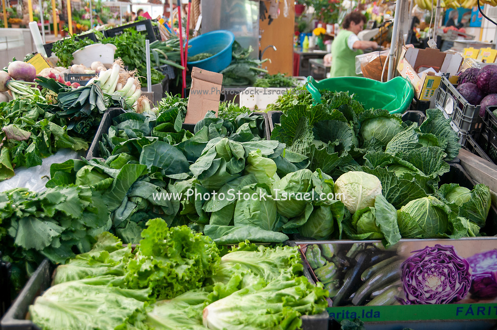 The municipal market in Aveiro, Portugal selling fresh fruit and vegetables