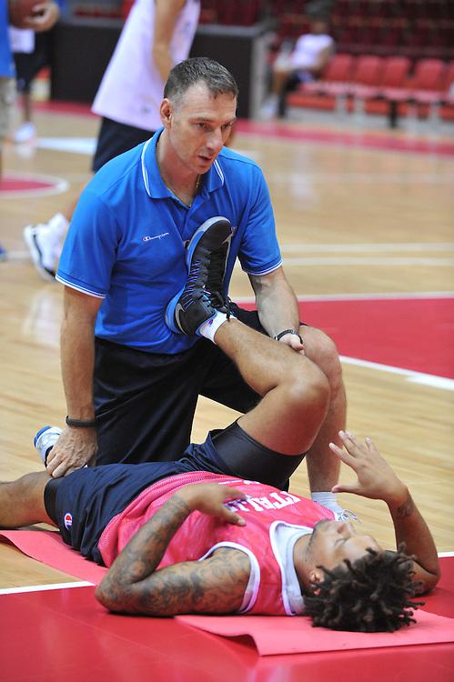 Danzica - Polonia 03 Agosto 2012 - Nazionale Italia Maschile Allenamento - <br /> Nella Foto : FRANCESCO CUZZOLIN DANIEL HACKETT<br /> Foto Ciamillo