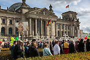 """Participants in """"The March For Life"""" are seen carrying crosses as they march in front of the Bundestag in Berlin's Mitte district, on September 16, 2017. In the center of the pro-life event was the call by the organizers for German politicians and society to take active action against a """"silent increase of acceptance"""" of the phenomenon. Abortion in Germany is permitted in the first trimester of the pregnancy, with the condition of mandatory counseling and in a later period of the pregnancy in cases of medical necessity.<br /> (Photo by Omer Messinger)"""