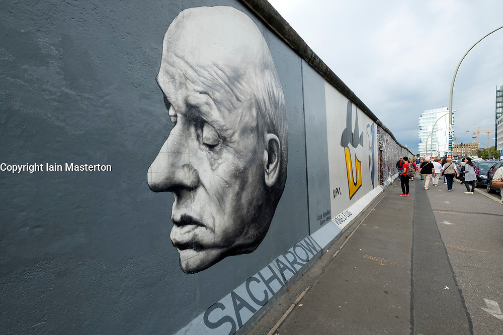mural  of Andre Sakharov painted on original section of Berlin Wall at East Side gallery in Berlin, Germany ...Editorial Use Only