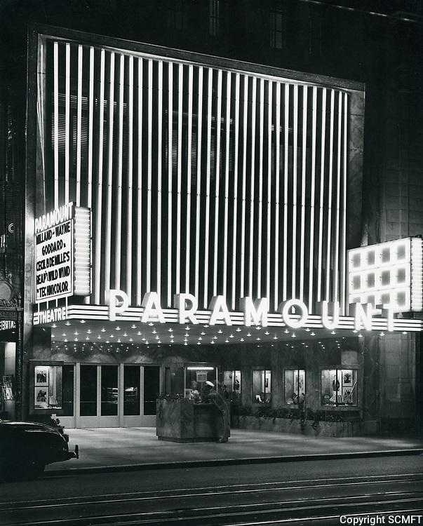 1942 Paramount Theater on Hollywood Blvd. at night