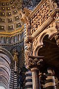 The famous pulpit of Siena's Duomo, designed and created by Nicola Pisano. Siena, Tuscany, Italy.