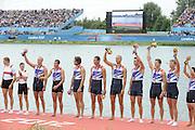 Eton Dorney, Windsor, Great Britain,..2012 London Olympic Regatta, Dorney Lake. Eton Rowing Centre, Berkshire[ Rowing]...Description;  Men's Eights Medals left to right, .GBR.M8+ Alex PARTRIDGE (b) , James FOAD (2) , Tom RANSLEY (3) , Richard EGINGTON (4) , Mohamed SBIHI (5) , Greg SEARLE (6) , Matt LANGRIDGE (7) , Constantine LOULOUDIS (s) , Phelan HILL (c)  Dorney Lake. 13:06:29  Wednesday  01/08/2012.  [Mandatory Credit: Peter Spurrier/Intersport Images].Dorney Lake, Eton, Great Britain...Venue, Rowing, 2012 London Olympic Regatta...