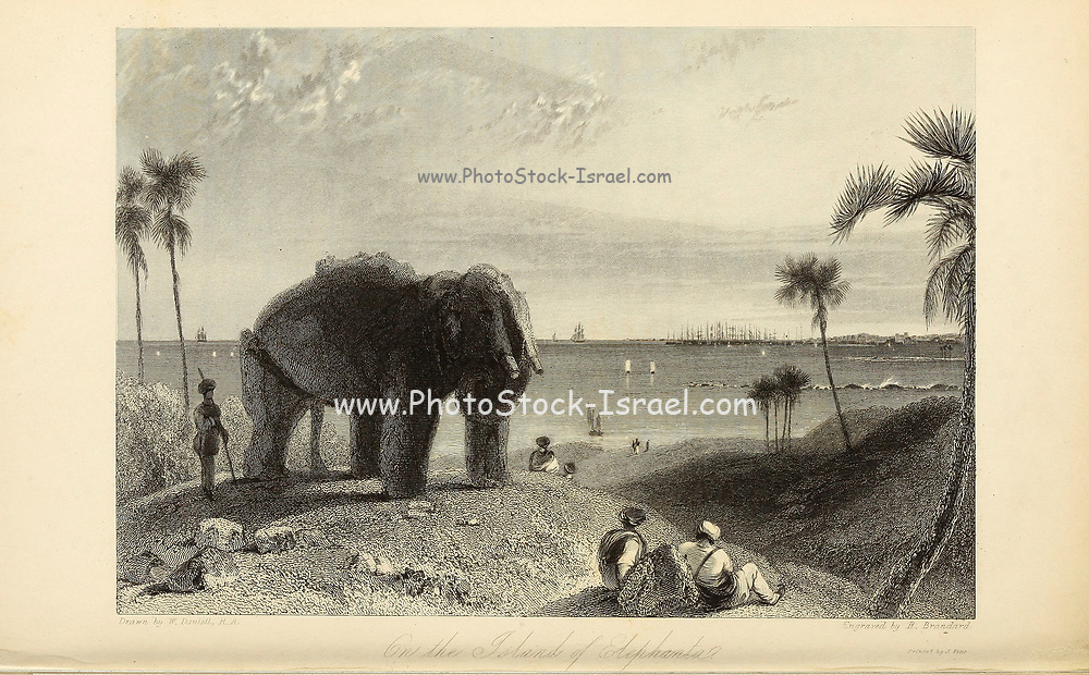 """On The Island Of Elephanta [Elephanta Island (also called Gharapuri (literally """"the city of caves"""") or Pory Island) is one of a number of islands in Mumbai Harbour, east of Mumbai, India]. From the book ' The Oriental annual, or, Scenes in India ' by the Rev. Hobart Caunter Published by Edward Bull, London 1836 engravings from drawings by William Daniell"""