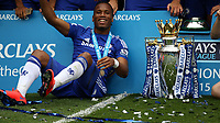 Football - 2014 / 2015 Premier League - Chelsea vs. Sunderland.   <br /> <br /> Chelsea's Didier Drogba with the Premier League trophy at Stamford Bridge.<br /> <br /> COLORSPORT/DANIEL BEARHAM