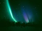Green, purple and blue aurora viewed from Tahneta Pass on the night of April 13-14, 2001, Alaska.