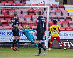 Partick Thistle's keeper Jamie Sneddon can't stop Dunfermline's Kevin Nisbet fourth goal. half time : Dunfermline 4 v 0 Partick Thistle, Scottish Championship game played 30/11/2019 at Dunfermline's home ground, East End Park.