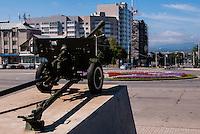 Russia, Sakhalin, Yuzhno-Sakhalinsk. Old Howitzer overlooking the city.