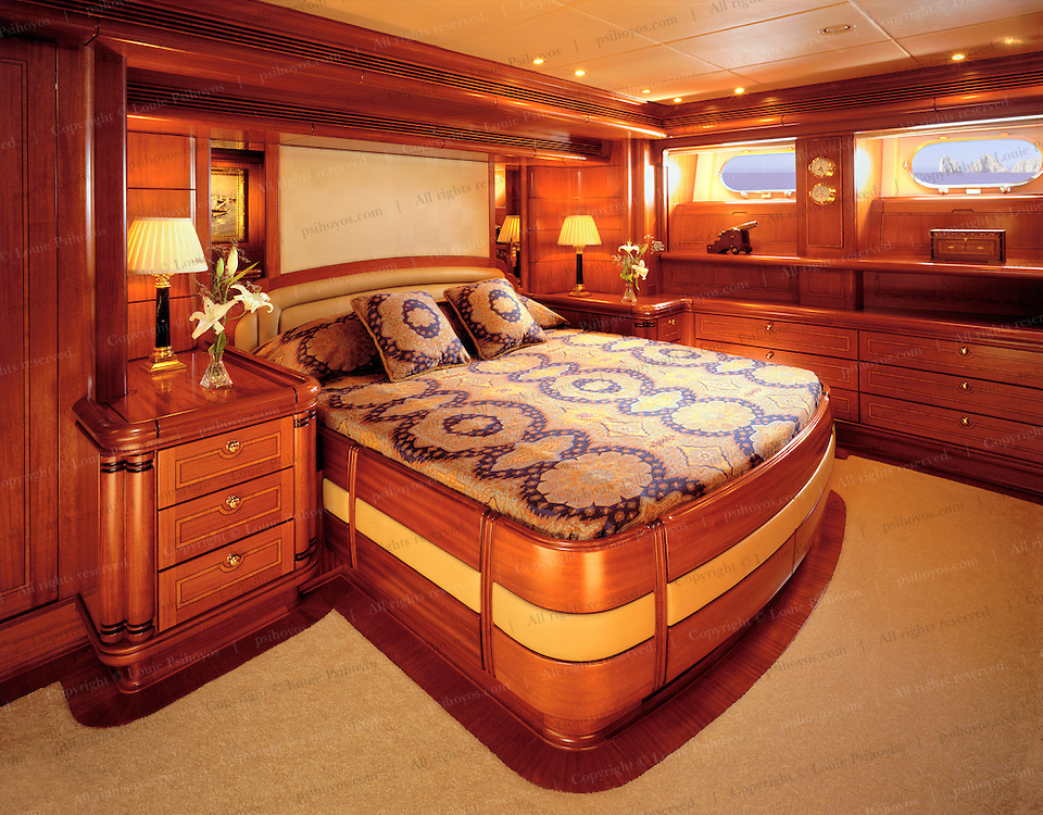 The master stateroom of Hyperion, widely considered one of the world's finest sailing yachts, built by the Royal Huisman Shipyard in Vollenhove, Holland.