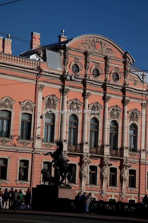 Russia, St Petersburg, Beloselsky-Belozersky Palace  near the three-span Anichkov Bridge, carrying Nevskiy prospekt across the Fontanka, was built in 1839-41. At each corner are Pyotr Klodt's impressive sculptures of men taming wild horses.