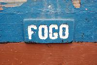 "09 JAN 2006, SAO FELIPE/FOGO/CAPE VERDE:<br /> Schriftzug ""Fogo"" an einem Fischerboot, Insel Fogo, Kapverdischen Inseln<br /> Name ""Fogo"" on a Fisherboat, island Fogo, Cape verde islands<br /> IMAGE: 20060109-01-018<br /> KEYWORDS: Travel, Reise, Natur, nature, Meer, sea, seaside, Küste, Kueste, coast, cabo verde, Dritte Welt, Third World, Kapverden, Schiff, meer, Sea,"