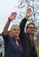 """Brad Pitt gives Ellen DeGeneres  a walking tour in the """" Make it Right """" houses in New Orleans Lower 9th Ward the day before a star-studded gala being held in New Orleans."""