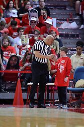 11 February 2017:  Ed Crenshaw gets a drink of water from the Redbird crew during a College MVC (Missouri Valley conference) mens basketball game between the Bradley Braves and Illinois State Redbirds in  Redbird Arena, Normal IL