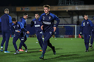 AFC Wimbledon Jack Rudoni (12) warming up prior to kick off during the EFL Sky Bet League 1 match between AFC Wimbledon and Burton Albion at the Cherry Red Records Stadium, Kingston, England on 28 January 2020.