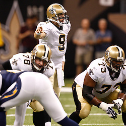 August 27, 2010; New Orleans, LA, USA; New Orleans Saints quarterback Drew Brees (9) during the first half of a preseason game at the Louisiana Superdome. The New Orleans Saints defeated the San Diego Chargers 36-21. Mandatory Credit: Derick E. Hingle