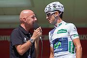 Alejandro Valverde during the signature control at the last step of the Vuelta de EspaÒa