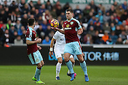 Sam Vokes of Burnley (9) in action. Premier league match, Swansea city v Burnley at the Liberty Stadium in Swansea, South Wales on Saturday 4th March 2017.<br /> pic by Andrew Orchard, Andrew Orchard sports photography.