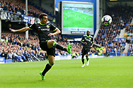 Pedro of Chelsea gets his cross in. Premier league match, Everton v Chelsea at Goodison Park in Liverpool, Merseyside on Sunday 30th April 2017.<br /> pic by Chris Stading, Andrew Orchard sports photography.