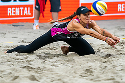 Emily Stockman USA in action during the last day of the beach volleyball event King of the Court at Jaarbeursplein on September 12, 2020 in Utrecht.