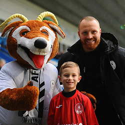 TELFORD COPYRIGHT MIKE SHERIDAN Gavin Hurren, Bubby Buck and mascot  during the Vanarama Conference North fixture between AFC Telford United and Alfreton Town at the New Bucks Head Stadium on Thursday, December 26, 2019.<br />