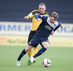 Livingston Martin Scott and Falkirk's Rory Loy.<br /> Falkirk 1 v 1 Livingston, Scottish Championship game today at The Falkirk Stadium.<br /> © Michael Schofield.