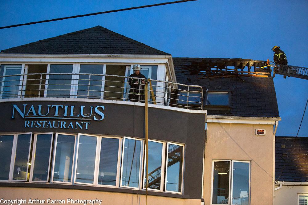 14/5/15 Dublin Fire Brigade tend to a fire at the Nautilus restaurant in Malahide, Dublin. Picture: Arthur Carron