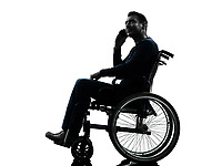 one handicapped man on the telephone in silhouette studio on white background