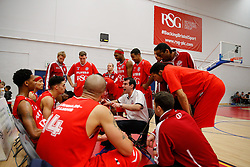 Bristol Flyers coach Andreas Kapoulas talks to the team in a timeout - Photo mandatory by-line: Rogan Thomson/JMP - 07966 386802 - 13/02/2015 - SPORT - BASKETBALL - Bristol, England - SGS Wise Arena - Bristol Flyers v Surrey United - BBL Championship.