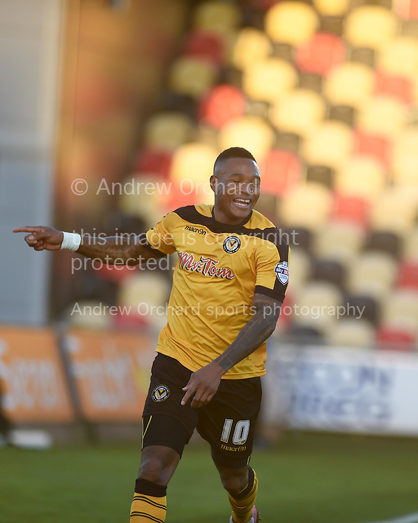 Newport county's Aaron O'Connor celebrates after he scores his teams 1st goal with a header. Skybet football league two match, Newport county v Stevenage at Rodney Parade in Newport, South Wales on Saturday 13th December 2014<br /> pic by Andrew Orchard, Andrew Orchard sports photography.