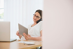 Glasses home office woman working phone
