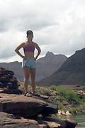 Jennifer Sosnowski enjoys the lunch time views of the Grand Canyon along the Colorado River