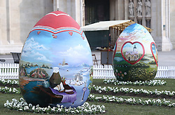 16.03.2016, Kathedrale, Zagreb, CRO, Riesen Ostereier vor der Kathedrale, im Bild drei Riesen Ostereier am Domkapitel der Kathedrale von Zagreb // Three Easter eggs at Kaptol in front of the Cathedral traditionally. Eggs are painted and they are attracting the attention of citizens and tourists who take pictures in front of them at Kathedrale in Zagreb, Croatia on 2016/03/16. EXPA Pictures © 2016, PhotoCredit: EXPA/ Pixsell/ Sanjin Strukic<br /> <br /> *****ATTENTION - for AUT, SLO, SUI, SWE, ITA, FRA only*****