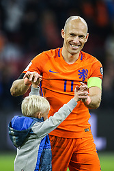 (l-r) Arjen Robben of Holland during the FIFA World Cup 2018 qualifying match between The Netherlands and Sweden at the Amsterdam Arena on October 10, 2017 in Amsterdam, The Netherlands