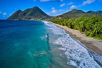 France, Martinique, Le Diamant, la plage et le Morne Larcher // France, West Indies, Martinique, Le Diamant, the beach and the Morne Larcher