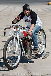 Rick Petko with his 1919 direct drive (no transmission) Indian 7-hp Powerplus racer with a 1914 Dixie mag and a schlebler H carb ready for Billy Lane's Son's of Speed race during Daytona Bike Week. New Smyrna Beach, FL. USA. Saturday March 18, 2017. Photography ©2017 Michael Lichter