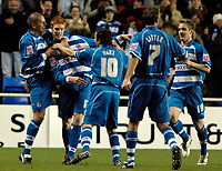 Photo: Daniel Hambury.<br />Reading v Luton Town. Coca Cola Championship.<br />03/12/2005.<br />Reading's Dave Kitson (centre) is mobbed by team mates after scoring the second goal.