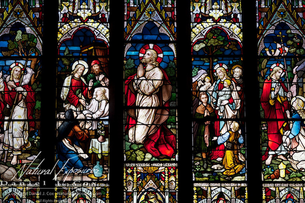 Stained glass windows in the St. Nicholas Church, Galway, Ireland.