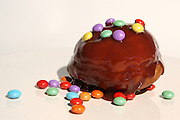 Sufganiyah (Sufganyot) a traditional Jewish Doughnut eaten during Hanukkah with chocolate and smarties