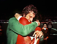 Ray Clemence (Liverpool) celebrates victory with a team mate.European Cup Final.1977 Liverpool v Borussia Monchengladbach. 25/05/1977 Rome Credit : Colorsport.