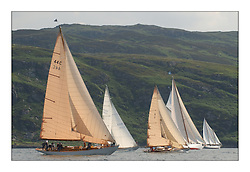 Solway Maid, Sonata, Mikado and Belle Adventure in the West Kyle after the start of the final race...This the largest gathering of classic yachts designed by William Fife returned to their birth place on the Clyde to participate in the 2nd Fife Regatta. 22 Yachts from around the world participated in the event which honoured the skills of Yacht Designer Wm Fife, and his yard in Fairlie, Scotland...FAO Picture Desk..Marc Turner / PFM Pictures