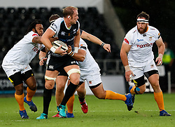 Alun Wyn Jones of Ospreys looks for support<br /> <br /> Photographer Simon King/Replay Images<br /> <br /> Guinness PRO14 Round 2 - Ospreys v Cheetahs - Saturday 8th September 2018 - Liberty Stadium - Swansea<br /> <br /> World Copyright © Replay Images . All rights reserved. info@replayimages.co.uk - http://replayimages.co.uk