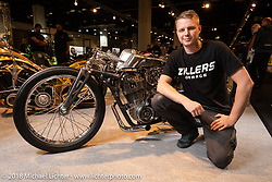 "Dima Golubchikov who works by himself at his Ziller's Garage in Moscow, Russia was the first place winner of the AMD Wolrd Championship of Custom Bike Building for his ""Insomnia"" custom Yamaha sr400 during the Intermot International Motorcycle Fair. Cologne, Germany. Friday October 5, 2018. Photography ©2018 Michael Lichter."