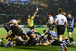 Matthew Rees of Cardiff Blues scores his sides third try - Mandatory by-line: Craig Thomas/JMP - 04/11/2017 - RUGBY - BT Sport Cardiff Arms Park - Cardiff, Wales - Cardiff Blues v Zebre Rugby Club - Guinness Pro 14