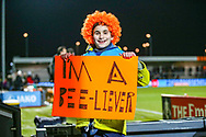 A Barnet fan shows support before the The FA Cup fourth round match between Barnet and Brentford at The Hive Stadium, London, England on 28 January 2019.