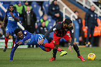 Blackburn Rovers' Dominic Samuel competing with Peterborough United's Jermaine Anderson<br /> <br /> Photographer Andrew Kearns/CameraSport<br /> <br /> The EFL Sky Bet League One - Peterborough United v Blackburn Rovers - Saturday 9th December 2017 - London Road Stadium - Peterborough<br /> <br /> World Copyright © 2017 CameraSport. All rights reserved. 43 Linden Ave. Countesthorpe. Leicester. England. LE8 5PG - Tel: +44 (0) 116 277 4147 - admin@camerasport.com - www.camerasport.com